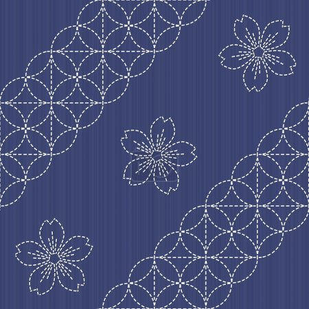 Sashiko motif - blooming cherry flowers. Needlework texture. Endless texture.