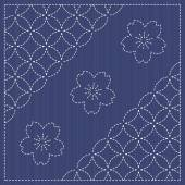Endless texture Japanese Embroidery Ornament with circles and blooming cherry flowers