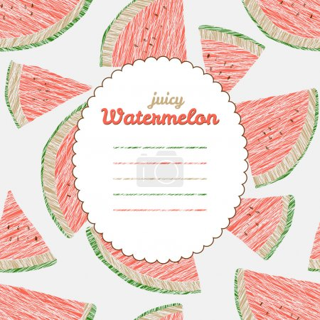 Endless watermelon texture, repeating fruit background. Text frame.