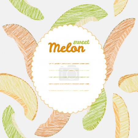 Text frame. Autumn melon backdrop. Endless harvest texture, repeating background.