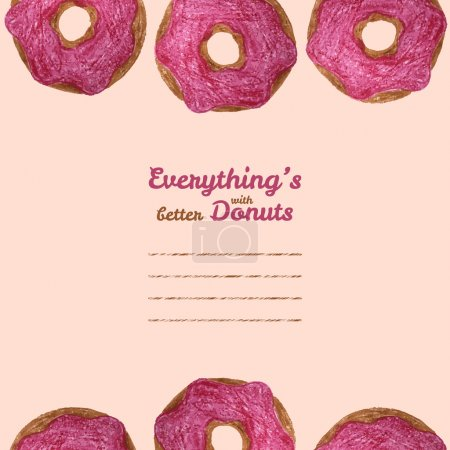 Photo for 'Everything's better with donuts' invitation. Vector illustration of doughnut. Colored Pencils Drawing. Donut sketch. Decorative Text frame with Tasty Donuts. Cute snack template. - Royalty Free Image