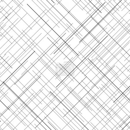 Illustration for Black and white abstract backdrop. Plaid Fabric texture. Random lines. Seamless pattern. Abstract texture. Monochrome. Plain texture for wallpaper or printing on fabric. For decoration or backdrop. - Royalty Free Image
