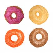 Four donuts isolated on white Colored Pencils Drawing Doughnut
