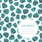 'Love yourself!' selfish postcard Seamless Valentine's Day Card Copy space for text Low-poly polygonal hearts made of triangles Simple design for flyer postcard or poster