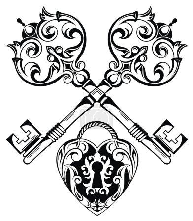 Illustration pour Illustration vectorielle avec serrure et clé - image libre de droit