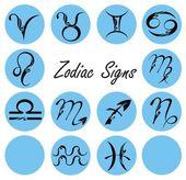 Zodiac signs in circle