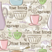 Seamless Patterns with different tablewareflower cup pan