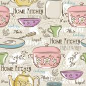 Seamless Patterns with different tablewareflower potcup