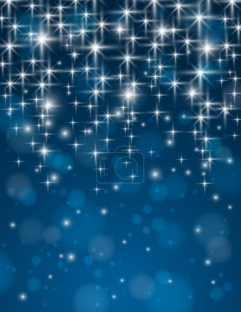 christmas blue background with brilliance stars, vector