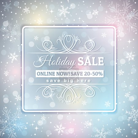 Grey  christmas background and  label with sale offer, vector il