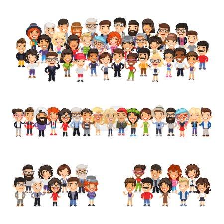 Photo pour Arbre grand groupe de personnes de dessin animé plat vêtus de façon décontractée. Isolé sur fond blanc. Chemins de coupe inclus . - image libre de droit