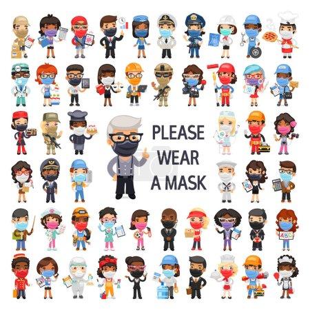Photo pour Masqué personnes de différentes professions personnages de dessins animés plat ensemble. Groupe de travailleurs isolés sur fond blanc. - image libre de droit