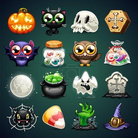 Halloween Cartoon Icons Set
