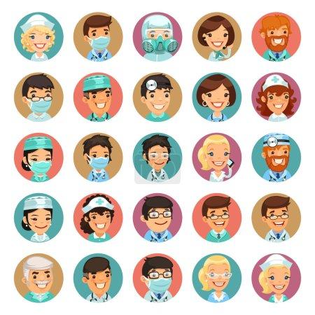 Doctors Cartoon Characters Icons Set3
