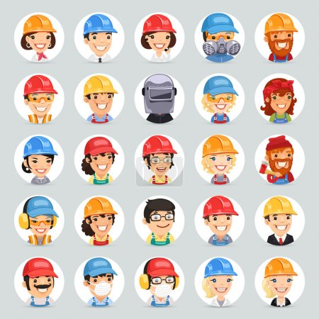 Builders Cartoon Characters Icons Set1.2