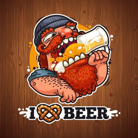 Illustration pour Man Loves Affiche de bière. Couper les chemins inclus dans le format jpg supplémentaire - image libre de droit