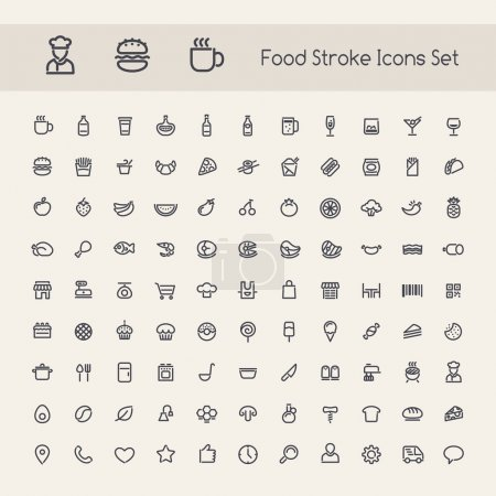 Illustration for Set of Stroke Food Icons. Isolated on White Background. Clipping paths included in additional jpg format. - Royalty Free Image