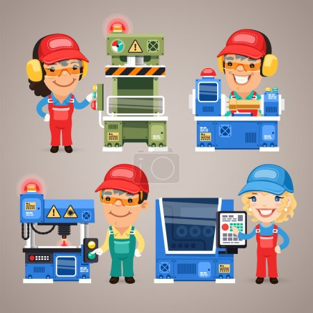 Illustration for Set of Cartoon Workers Working on the Factory Machines. In the EPS file, each element is grouped separately. Clipping paths included in additional jpg format - Royalty Free Image
