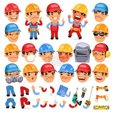 Illustration for Set of Cartoon Worker Character for Your Design or Aanimation. Isolated on White Background. Clipping paths included in additional jpg format - Royalty Free Image
