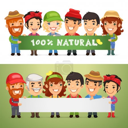 Illustration for Farmers Presenting Horizontal Banner. In the EPS file, each element is grouped separately. Clipping paths included in additional jpg format - Royalty Free Image