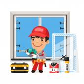 Carpenter Installs the New Window Isolated on white background Clipping paths included in additional jpg format