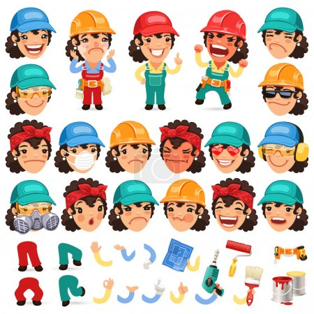 Set of Cartoon Lady Worker Character for Your Design or Animation