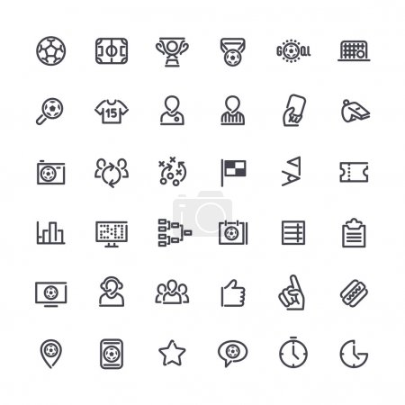 Illustration for Set of Outline Vector Icons on the Theme of Soccer for Yours Sports Apps or other Projects. Isolated on white background. Clipping paths included in additional jpg format - Royalty Free Image