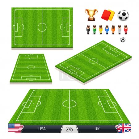 Vector Illustration set of Soccer Fields in Four Different Positions