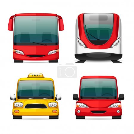 Illustration for Colorful Transportation Icons for Your Delivery and Travel Projects. Bus, Train, Taxi and Red Car. Isolated on white background. Clipping paths included in JPG file - Royalty Free Image