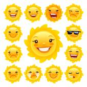 Cartoon Sun Character Emoticons Set for Your Summer Projects Isolated on white background Clipping paths included in JPG file