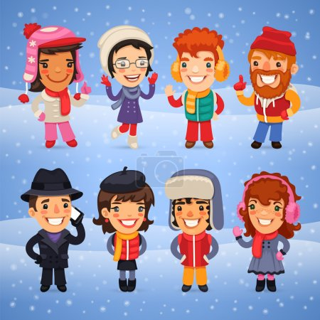 Cartoon Characters in Winter Clothes. Clipping pat...