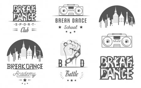 Set of Breakdance Bboy Silhouettes in Different Po...