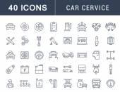 Set Vector Flat Line Icons Car Service