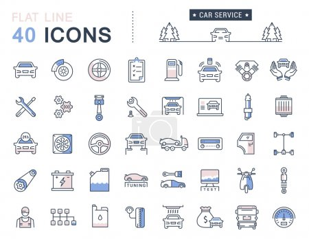 Set Vector Flat Line Icons Car Service