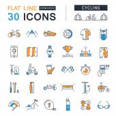 Set Vector Flat Line Icons Cycling