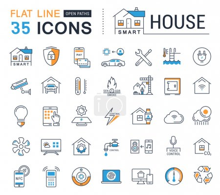 Set Vector Flat Line Icons Smart House
