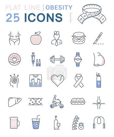 Set Vector Flat Line Icons Obesity