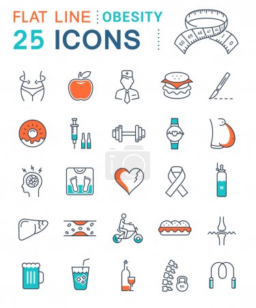 Set Vector Flat Line Icons Obesity