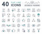 Nastavit vektor rovná čára ikony obchodní školení