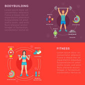 Sport infographic banners and elements with bodybuilding and fitness Set sign sport people and others objects Fitness infographic template Flat design banners Abstract isolated vector illustration
