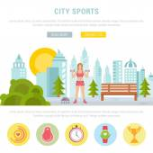 Vector sport illustration banner Fitness or bodybuilding women Modern isolated illustration city sports Template with buttons for website banner and landing page Sport background or template