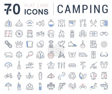 Illustration for Set vector line icons in flat design camping, eco and ecotourism with elements for mobile concepts and web apps. Collection modern infographic logo and pictogram. - Royalty Free Image