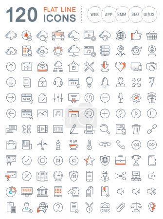 Illustration for Set vector line icons in flat design smm, cms, seo and ui, ux design with elements for mobile concepts and web apps. Collection modern infographic logo and pictogram. - Royalty Free Image