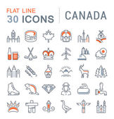 Set Vector Flat Line Icons Canada