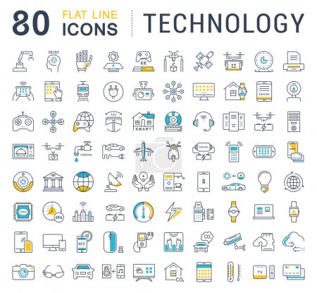 Photo for Set vector line icons in flat design technology, electric car, smart city, house , internet of things, online payment. Elements for mobile concepts. Collection modern infographic logo and pictogram. - Royalty Free Image