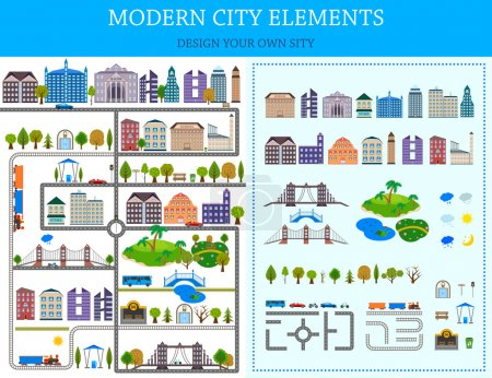 Elements of the modern city - stock vector.