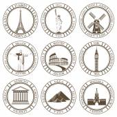 Stickers and icons of travel Vector illustration isolated famous scenic attractions and places of the world