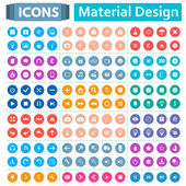 Universal set of social technical household icons isolated on white background Vector illustration designed in a modern style - Material Design