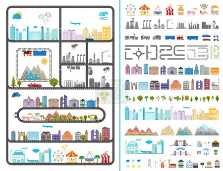 Photo for Elements of the modern city. Design your own town. Map elements for your pattern, web site or other type of design. Vector illustration. - Royalty Free Image