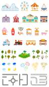 Elements of the modern city of entertainment Design your own town Map elements for your pattern web site or other type of design Vector illustration